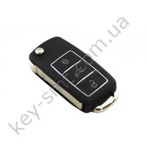 Корпус выкидного ключа Volkswagen Caddy, Passat B5, Bora и другие, 3 кнопки, лезвие HU66, водонепроницаемый,  черный /D