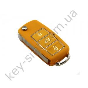 Корпус выкидного ключа Volkswagen Caddy, Passat B5, Bora и другие, 3 кнопки, лезвие HU66, водонепроницаемый, оранжевый /D