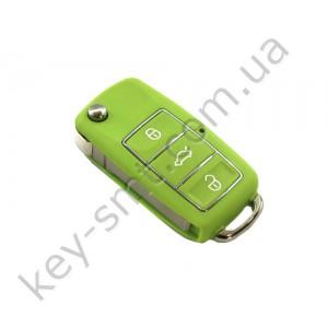 Корпус выкидного ключа Volkswagen Caddy, Passat B5, Bora и другие, 3 кнопки, лезвие HU66, водонепроницаемый, зелёный /D