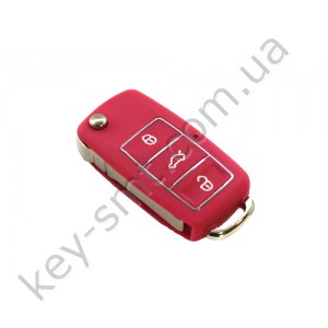 Корпус выкидного ключа Volkswagen Caddy, Passat B5, Bora и другие, 3 кнопки, лезвие HU66, водонепроницаемый, розовый /D