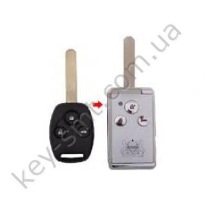 Корпус выкидного ключа Honda Accord, Pilot, Civic, Odyssey и другие, 3 кнопки, под переделку, черный /D