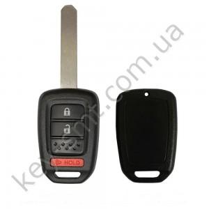 Корпус ключа Honda Civic, Fit и другие, 2+1 кнопки, лезвие HON66, лого /D