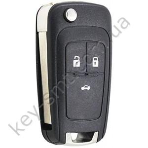Корпус выкидного ключа Chevrolet Cruse 3 кнопки, лезвие HU100 /D СУПЕР КАЧЕСТВО С ЛОГОТИПОМ !