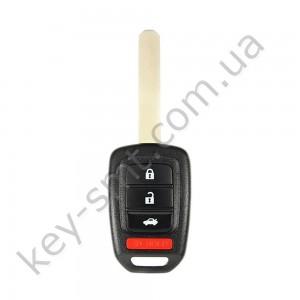Корпус ключа Honda CR-V, HR-V и другие, 3+1 кнопки, лезвие HON66, лого /D/СУПЕР КАЧЕСТВО С ЛОГОТИПОМ !