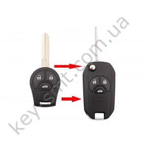 Корпус выкидного ключа Nissan Juke, Qashqai и другие, 3 кнопки, лезвие NSN14, под переделку /D