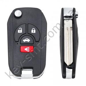 Корпус выкидного ключа Nissan Juke, Qashqai, 3+1 кнопки, лезвие NSN14, под переделку /D