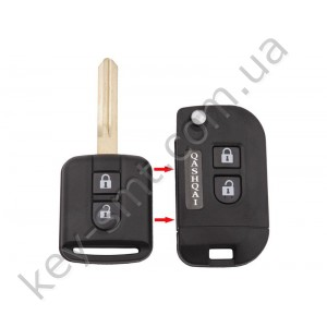 Корпус выкидного ключа Nissan Qashqai, Micra и другие, 2 кнопки, лезвие NSN14, под переделку /D