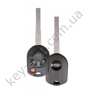 Корпус ключа с кнопками Ford Escape, Transit, 2+1 кнопки, лезвие HU101 /D